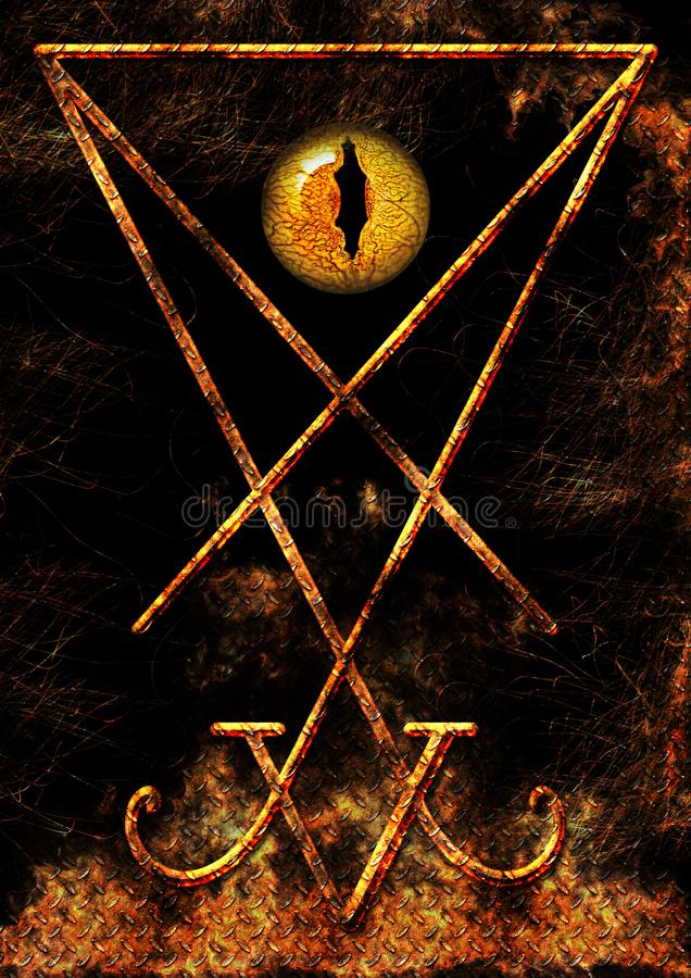 Lucifer Symbol con ojos reptiles libre illustration