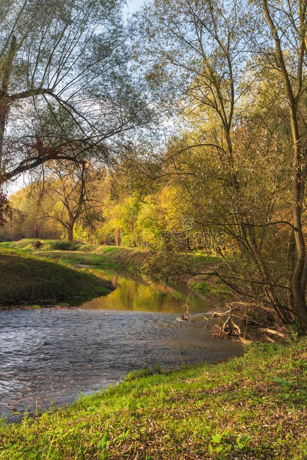 Lucina river with colourful trees on the background near Slezskoostravsky hrad in Ostrava city in Czech republic. During nice autumn day royalty free stock photos