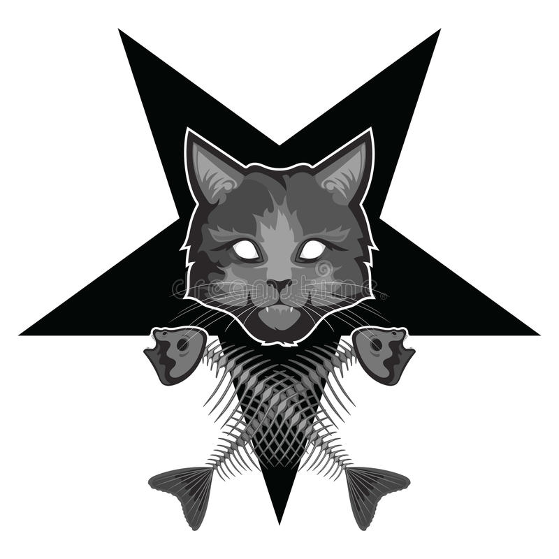 Lucipurr zły kot, pentagram i krzyżować rybie kości -, ilustracji