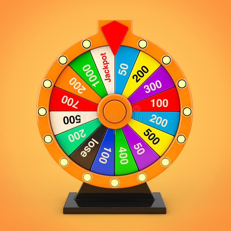 Luck and Fortune Concept. Spinning Colorful Fortune Wheel. 3d Re royalty free illustration