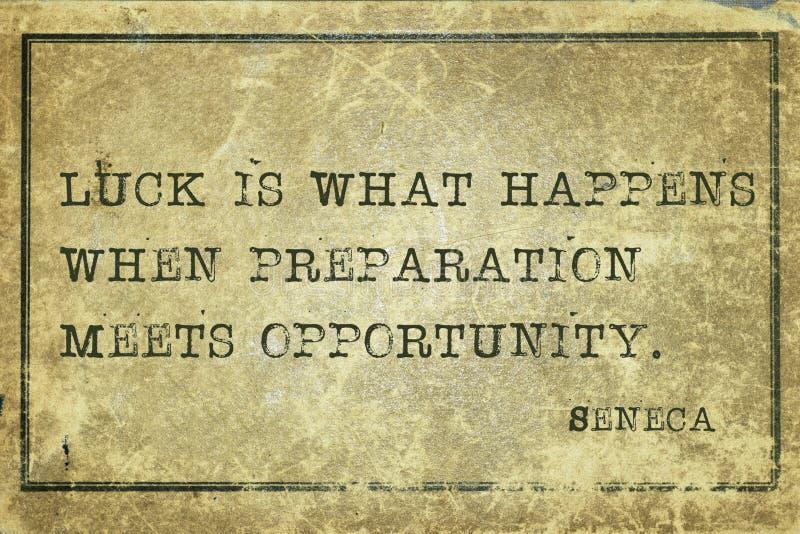 Luck happens Seneca. Luck is what happens when - ancient Roman philosopher Seneca quote printed on grunge vintage cardboard stock illustration