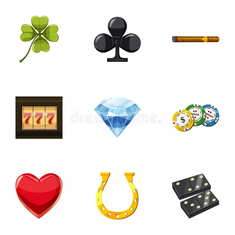 Luck icons set, cartoon style. Luck icons set. Cartoon set of 9 luck vector icons for web isolated on white background royalty free illustration