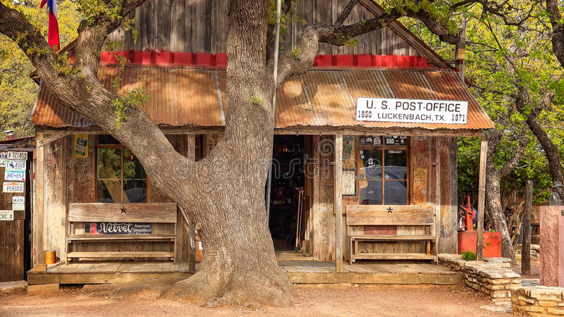 Luckenbach Texas Post Office, magasin et barre images libres de droits