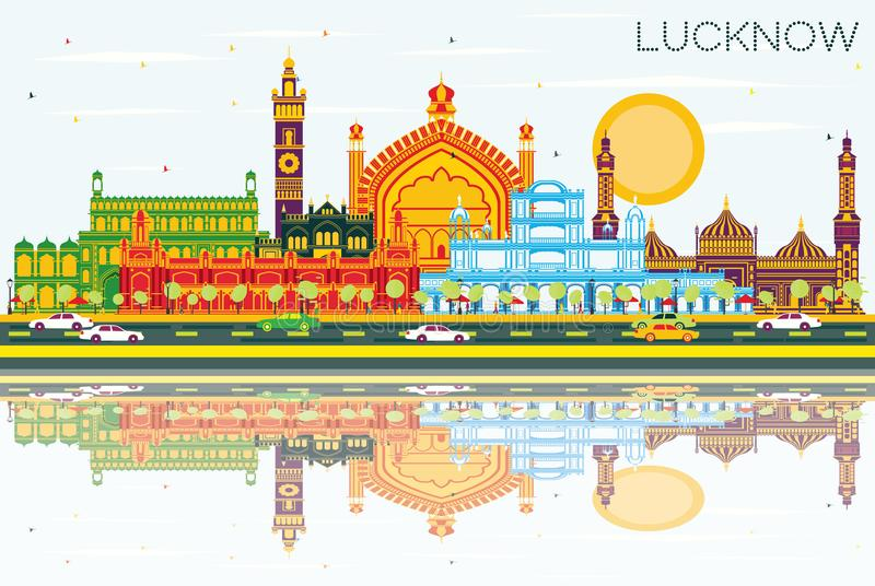 Lucknow India City Skyline with Gray Buildings, Blue Sky and Ref. Lections. Vector Illustration. Business Travel and Tourism Concept with Modern Architecture vector illustration