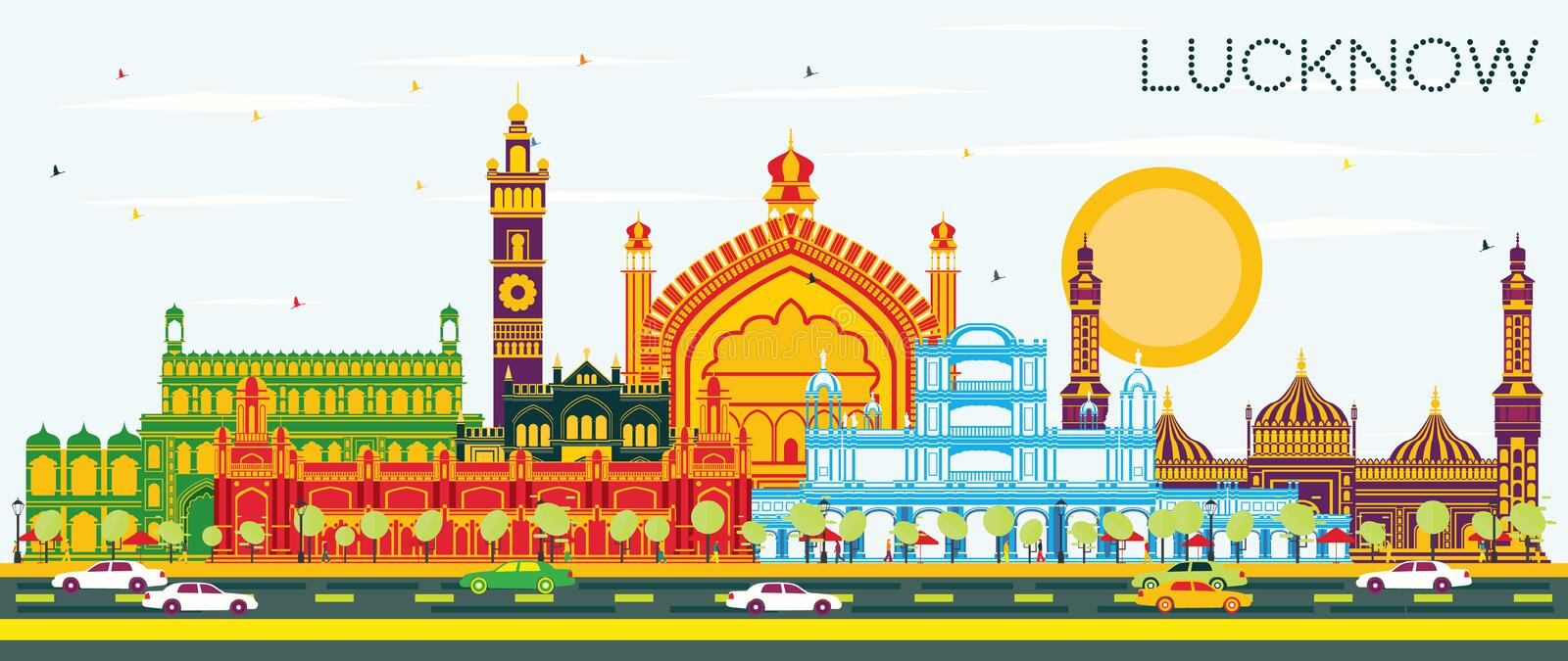 Lucknow India City Skyline with Gray Buildings and Blue Sky. Vector Illustration. Business Travel and Tourism Concept with Modern Architecture. Lucknow stock illustration