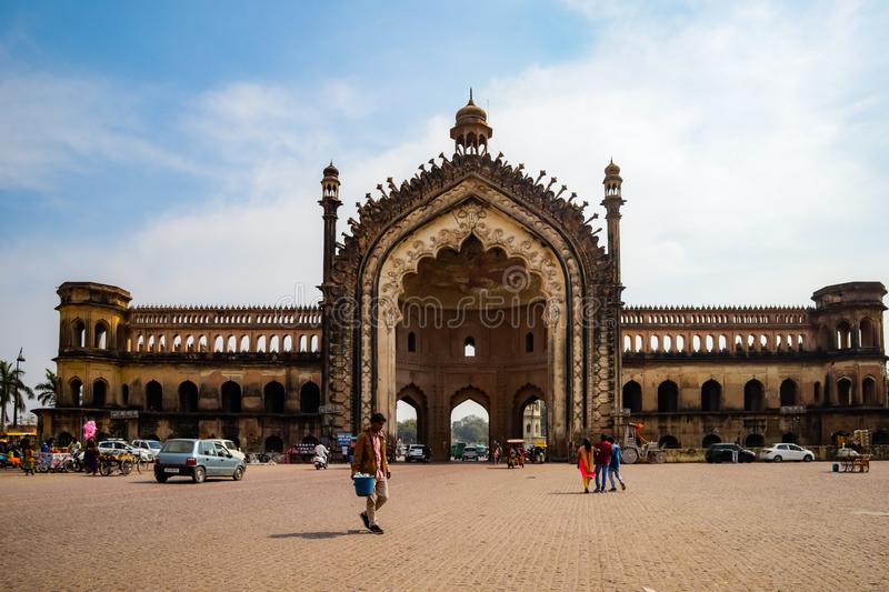 LUCKNOW, INDIA - DEC 19: Tourist and citizens near the famous historical gateway Rumi Darwaza at the sunny day on. December 13,2019 in Lucknow, India stock photo