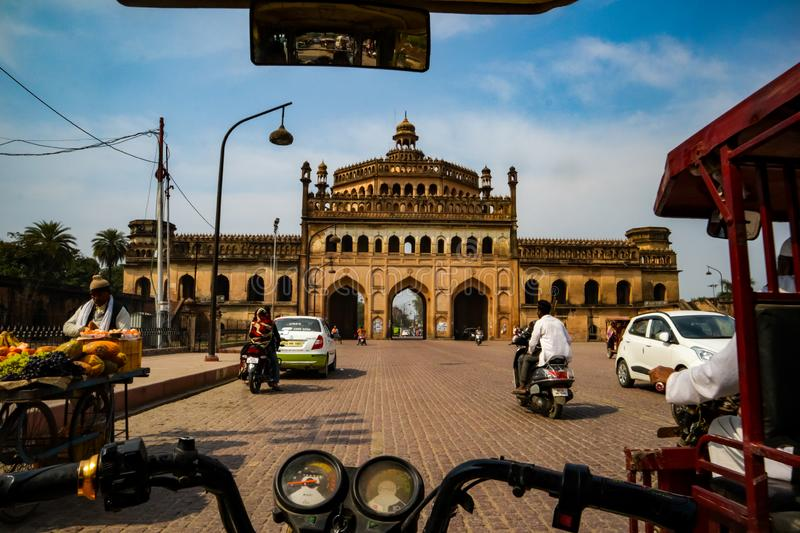 LUCKNOW, INDIA - DEC 19: Tourist and citizens near the famous historical gateway Rumi Darwaza at the sunny day on. December 13,2019 in Lucknow, India stock image
