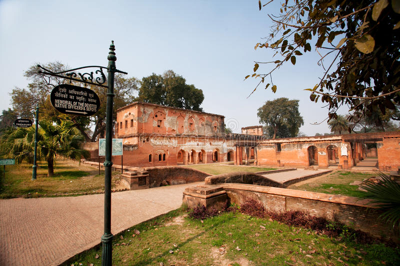 LUCKNOW, INDIA: Old red buildings of Lucknow Residency at sunny day. Old red buildings of Lucknow Residency at sunny day in Lucknow. Residency took place between stock photos
