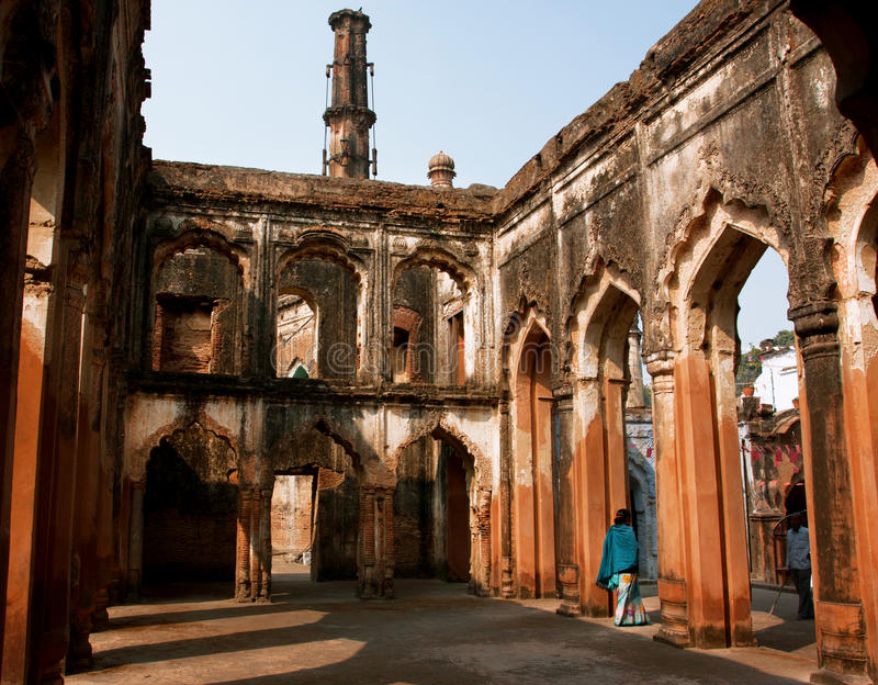 LUCKNOW, INDIA: Old walls of Lucknow Residency built in mughal style. Old walls of Lucknow Residency built in mughal style. Residency took place between 1780 to royalty free stock photos