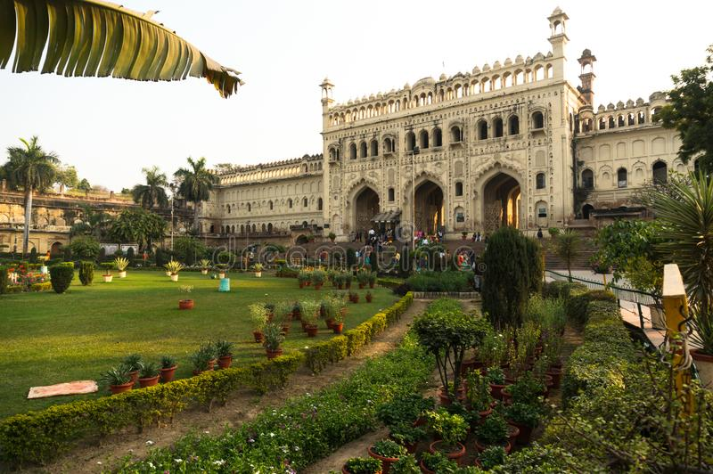 Entrance gate and gardens to the Bara Imambara lucknow India. Lucknow, India: 3rd Feb 2018: Entrance gate and gardens to the bara imambara in Lucknow. One of the stock images