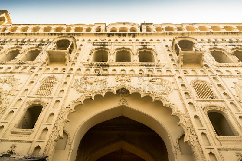 Entrance gate to the Bara Imambara lucknow India. Lucknow, India: 3rd Feb 2018: Entrance gate to the bara imambara in Lucknow. Shot from ground looking up to royalty free stock photo