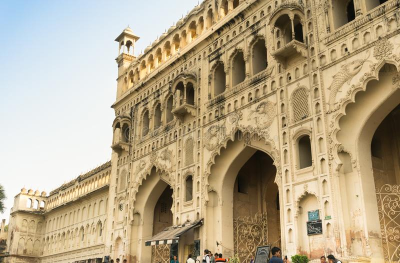Entrance gate to the Bara Imambara lucknow India. Lucknow, India: 3rd Feb 2018: Entrance gate to the bara imambara in Lucknow. One of the largest and most famous stock photo