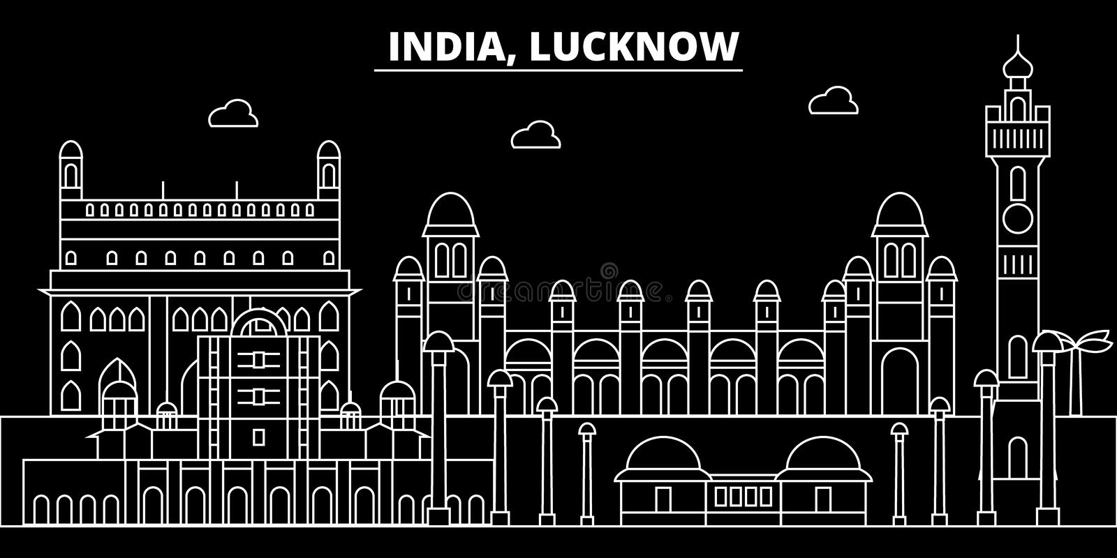 Lucknow silhouette skyline. India - Lucknow vector city, indian linear architecture, buildings. Lucknow travel. Lucknow silhouette skyline. India - Lucknow stock illustration
