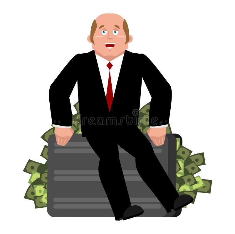 Lucky Businessman en geld Handelsadviseur Werkgever en contant geld royalty-vrije illustratie