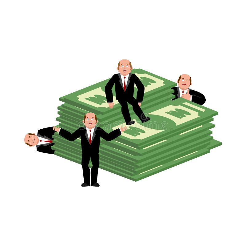 Lucky Businessman en geld Handelsadviseur Werkgever en contant geld vector illustratie