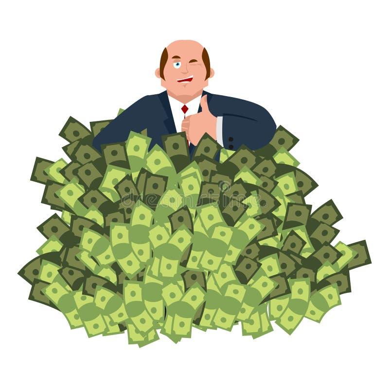 Lucky Businessman en geld Handelsadviseur Werkgever en contant geld stock illustratie