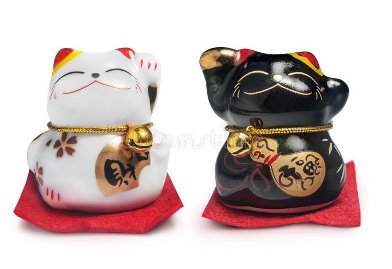 Lucky Chinese Cat isolerade över vit bakgrund royaltyfria foton