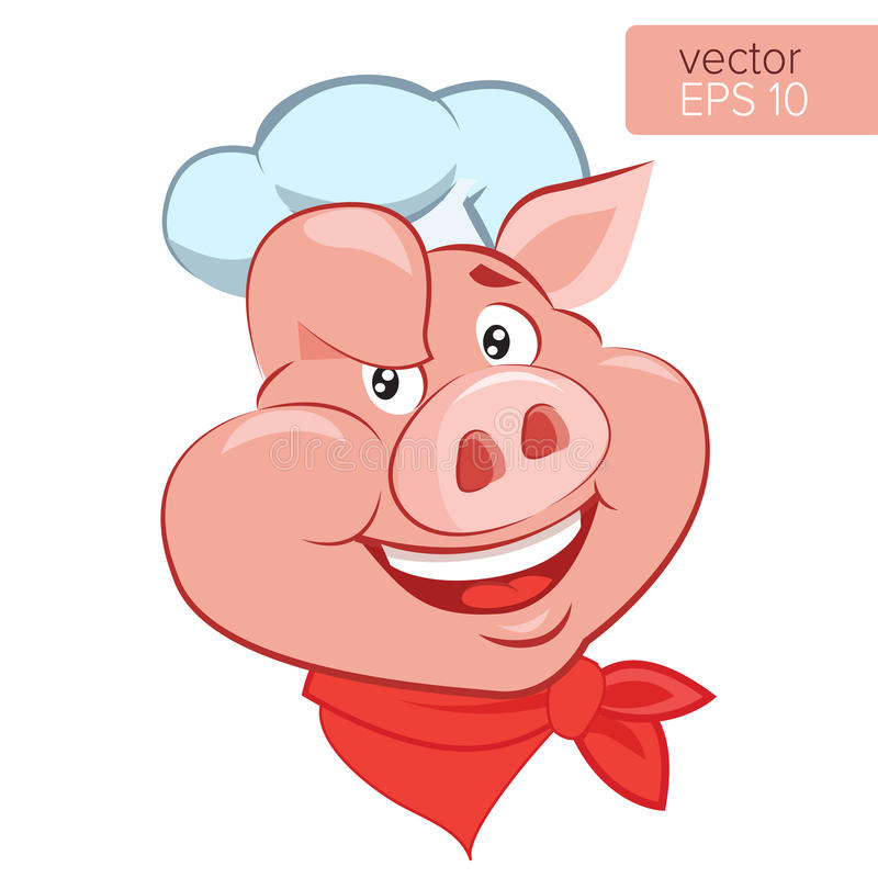 Lucky Cook. I Know How To Cook. Smile Pig Chef Head Cartoon Vector Illustration. Bbq Theme. Lucky Cook. I Know How To Cook. Smile Pig Chef Head Cartoon Vector stock illustration