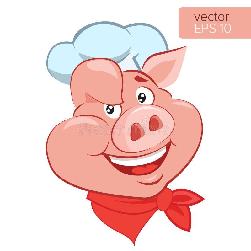Lucky Cook Sé cocinar Ejemplo de Head Cartoon Vector del cocinero del cerdo de la sonrisa stock de ilustración