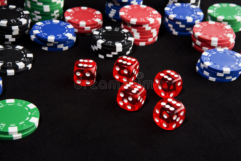 Lucky Dice And Chips Royalty Free Stock Photos