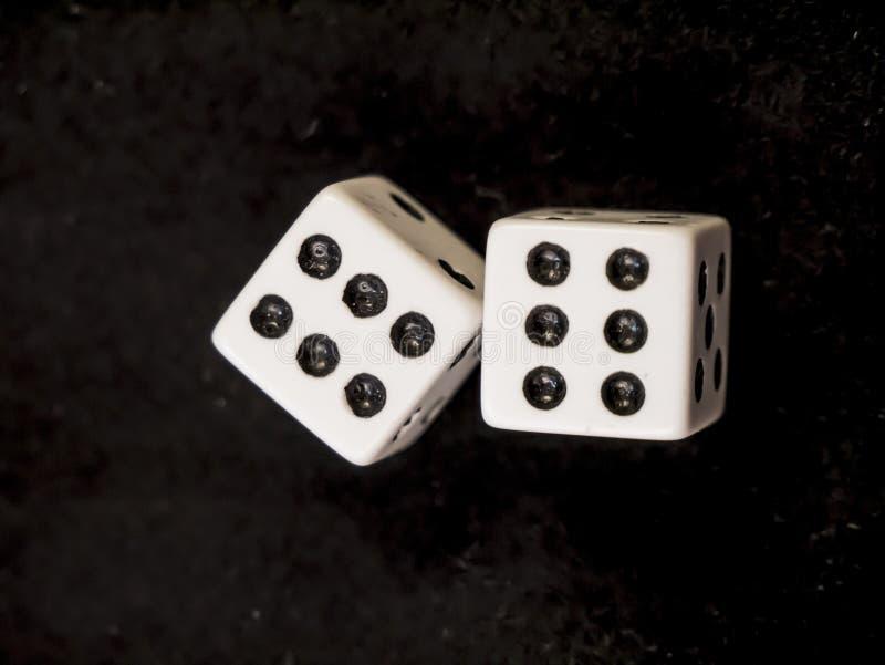 Lucky Dice Podwójne sześć Zwycięska kombinacja fotografia stock