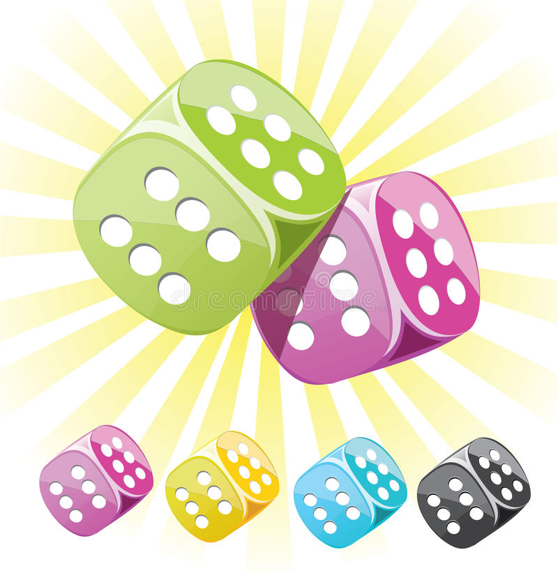 Lucky dices many color vector set stock illustration