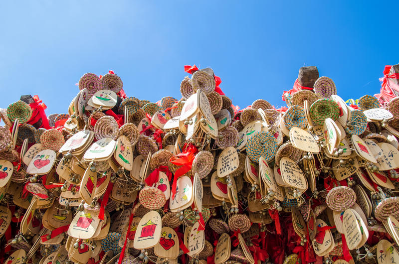 Lucky Dongba Aspiration Windbell dans la vieille ville de Lijiang, Yunnan Chine image stock
