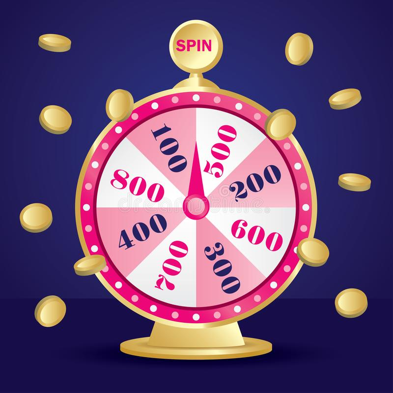 Lucky draw wheel. Cute and pink lucky draw wheel vector stock illustration