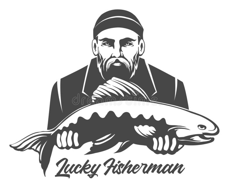Lucky Fisherman Emblem royalty-vrije illustratie