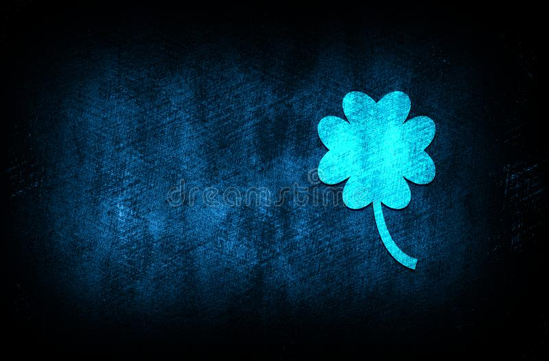 Lucky four leaf clover icon abstract blue background illustration digital texture design concept. Lucky four leaf clover icon abstract blue background royalty free stock images