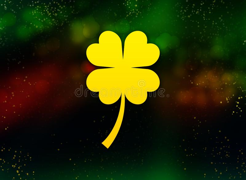 Lucky four leaf clover icon abstract bokeh dark background. Lucky four leaf clover icon isolated on abstract bokeh dark background stock illustration