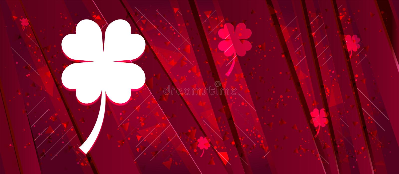 Lucky four leaf clover icon Abstract design bright red banner background. Lucky four leaf clover icon isolated on Abstract design bright red banner background royalty free illustration