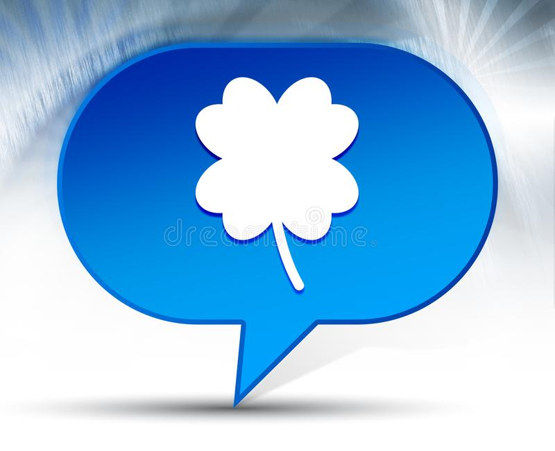 Lucky four leaf clover icon blue bubble background. Lucky four leaf clover icon isolated on blue bubble background stock image