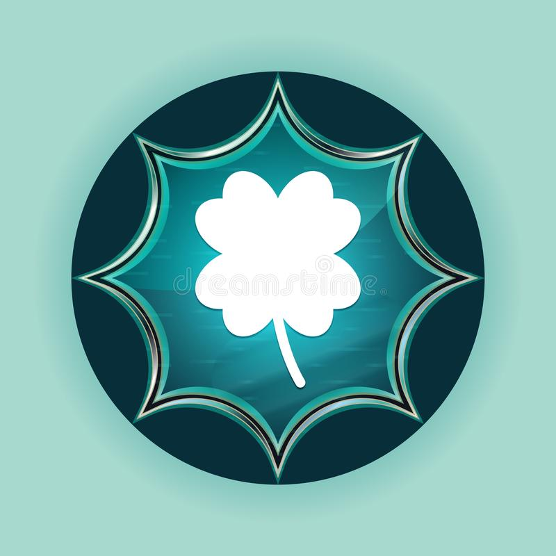 Lucky four leaf clover icon magical glassy sunburst blue button sky blue background. Lucky four leaf clover icon isolated on magical glassy sunburst blue button vector illustration