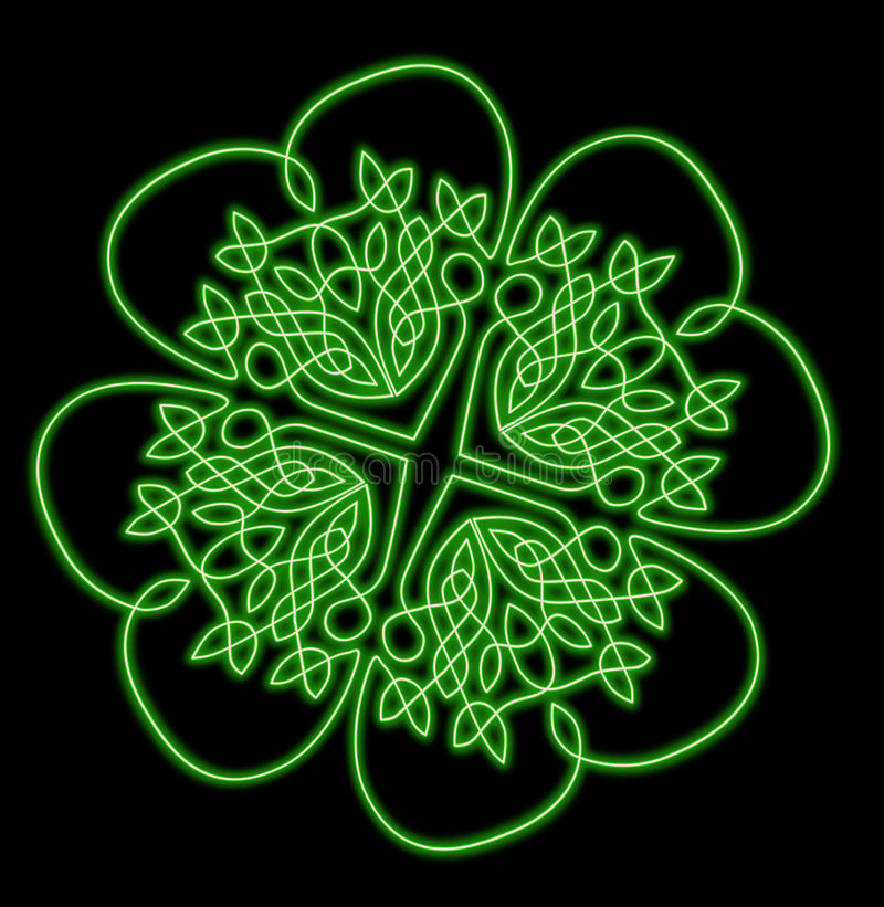 Download Lucky Four Leaf Neon Shamrock Stock Illustration - Image: 14008071