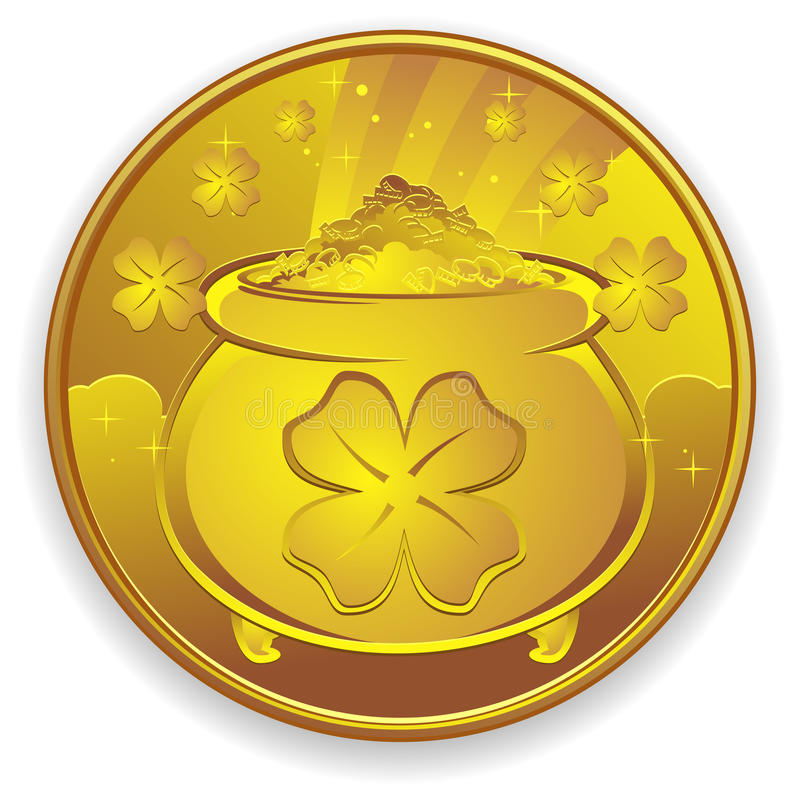 Lucky Gold Coin. A very lucky gold coin, covered in four leaf clovers and a pot of gold