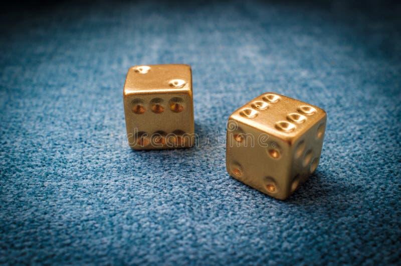 Lucky Golden Dice imagens de stock