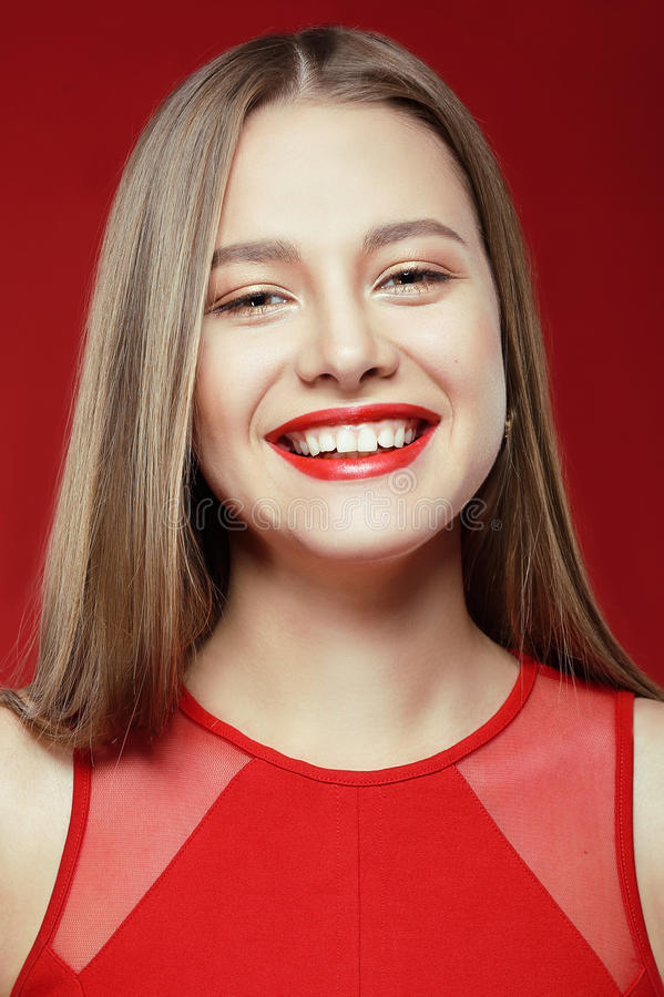 Lucky Happy Woman with Toothy Smile stock photos