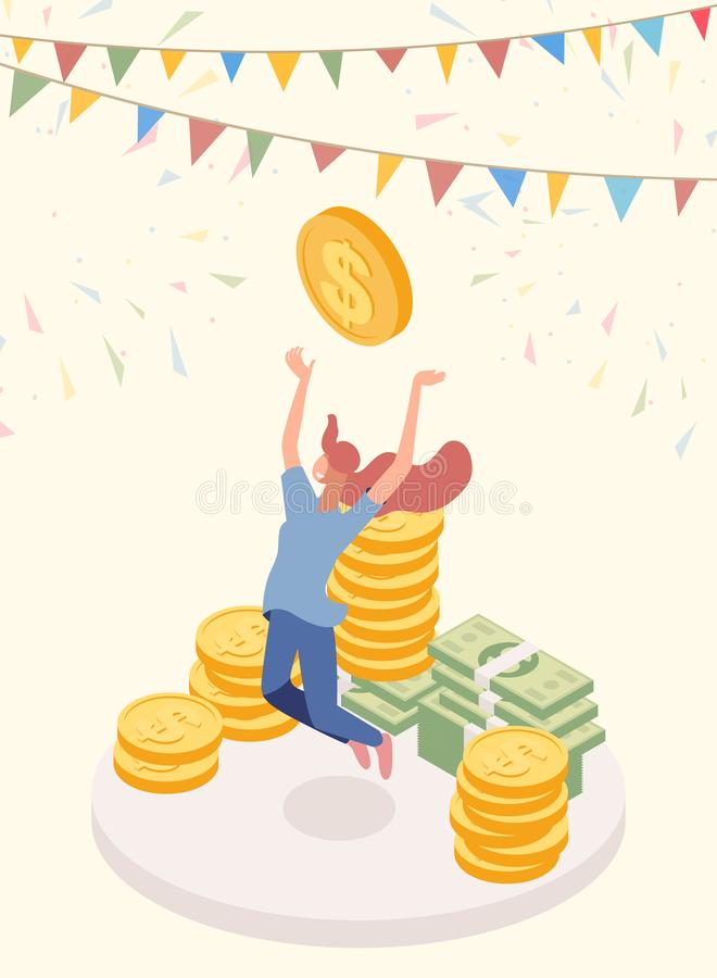 Lucky jackpot winner vector character. Joyful girl, cash prize owner, honorarium payee isometric illustration. Lottery vector illustration