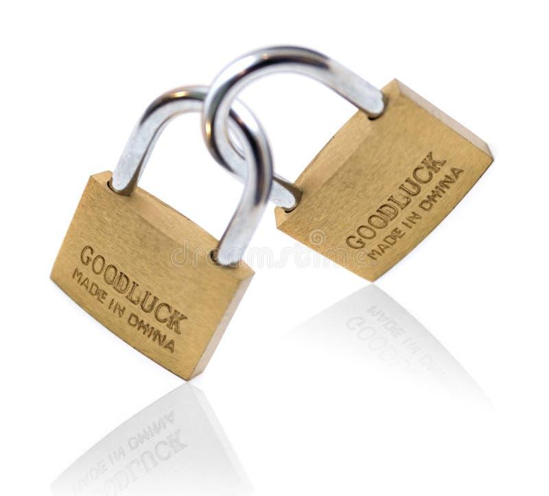 Lucky locks isolated on white background stock photo