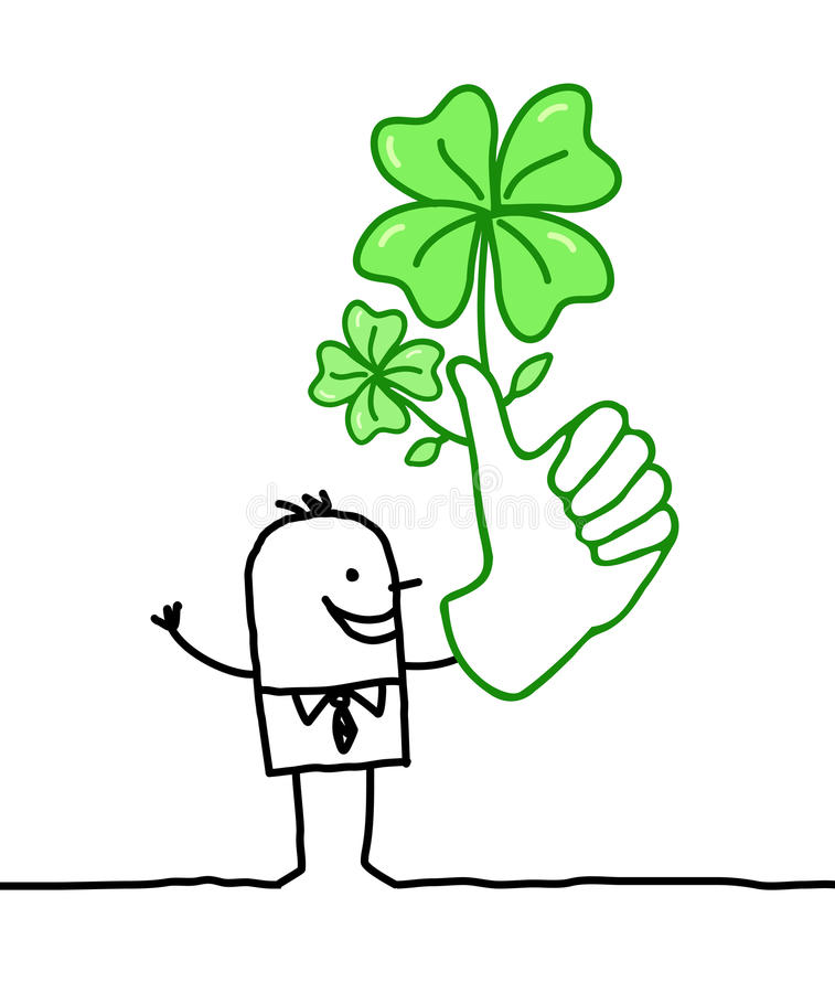 Download Lucky man with big hand stock vector. Image of leaf, happy - 33971505