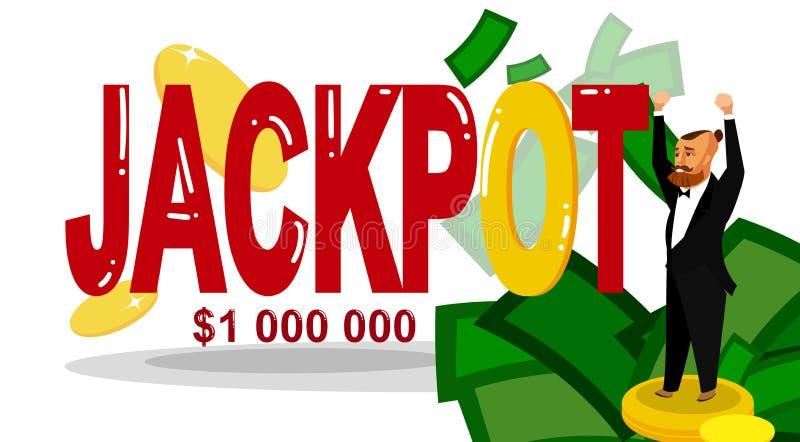 Lucky Man, calibre plat de bannière de gagnant de loterie illustration de vecteur