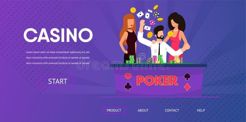 Lucky Man Win Money Happy-Frau nahe Kasino-Tabelle stock abbildung