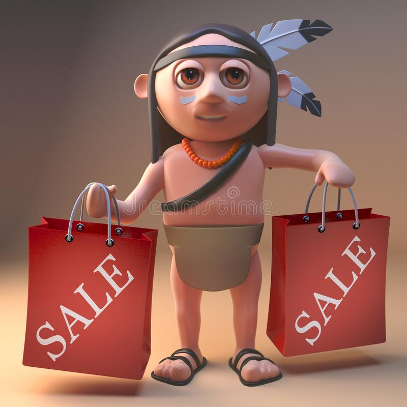 Lucky native American Indian has bought some bargains at the sales, 3d illustration. Render royalty free illustration