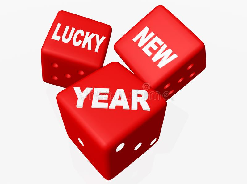 Lucky new year dice red isolated - 3d rendering stock illustration
