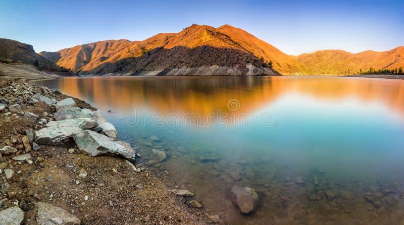 Lucky Peak State Park bij zonsopgang in Idaho, de V.S. stock afbeelding