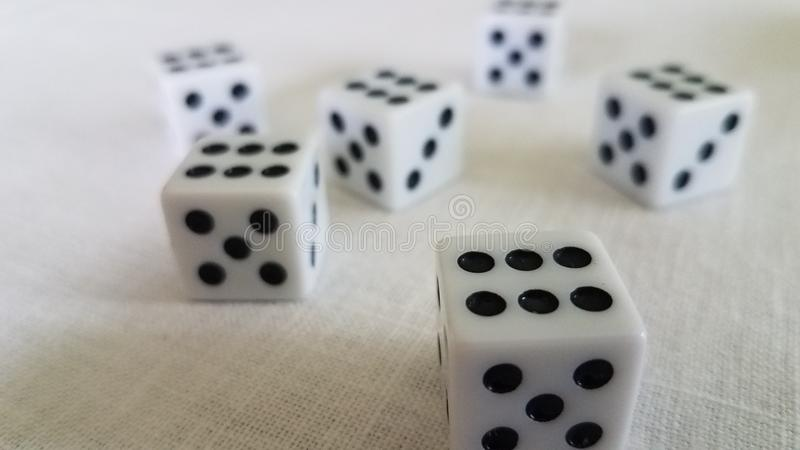 Lucky roll of the dice stock images