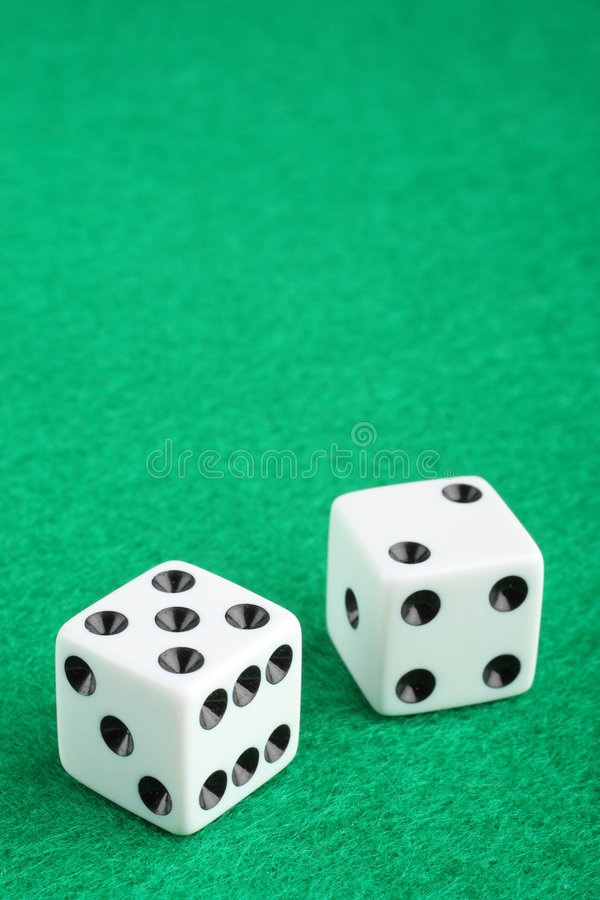 Lucky Seven Dice On Gambling Table Stock Photography
