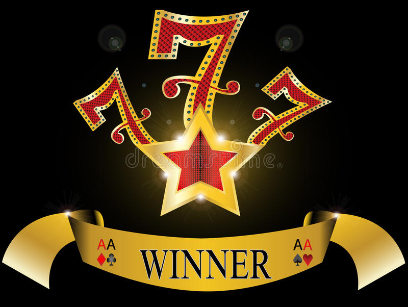 Lucky seven with gold star and reflection glossy. Gold banner on black background 777 black jack illustration vector illustration