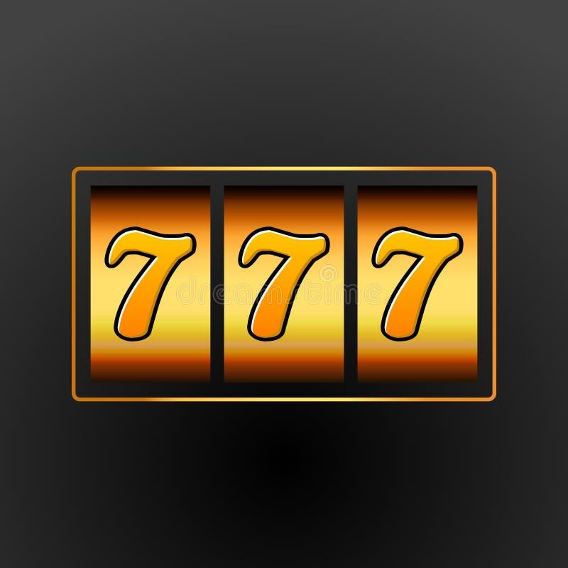Lucky seven 777 slot machine. Casino vegas game. Gambling fortune chance. Win jackpot money royalty free illustration